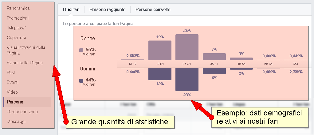 facebook insight statistiche demografiche fan